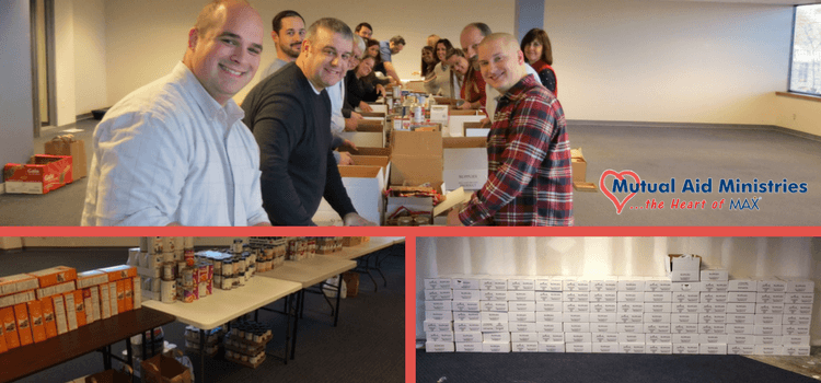 MAX Team Packed Boxes for Harvesters Holiday Fixin's