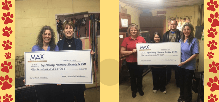 MAX Insurance and Porter-Takats Insurance Provide Grant to the Jay County Humane Society