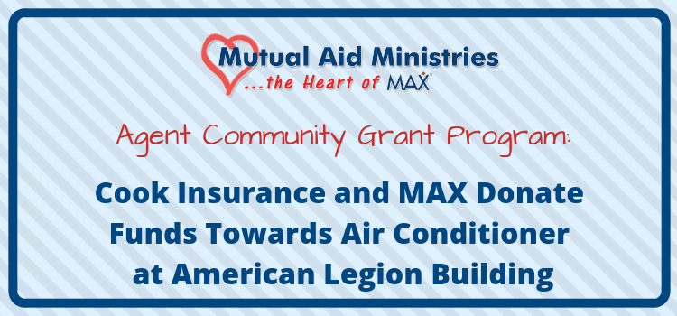 Cook Insurance and MAX Insurance<sup>®</sup> Donate Funds Towards Air Conditioner at American Legion Building